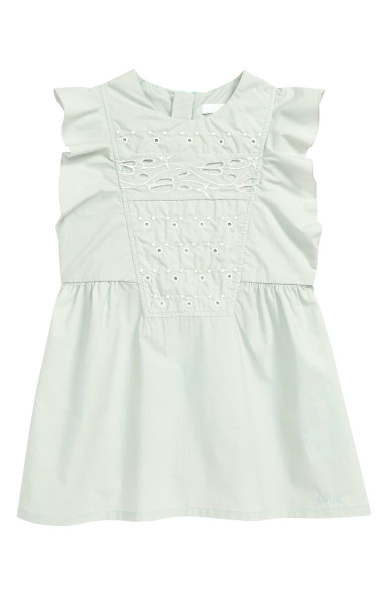 CHLOÉ Eyelet Flutter Sleeve Dress, Main, color, 73B PALE GREEN