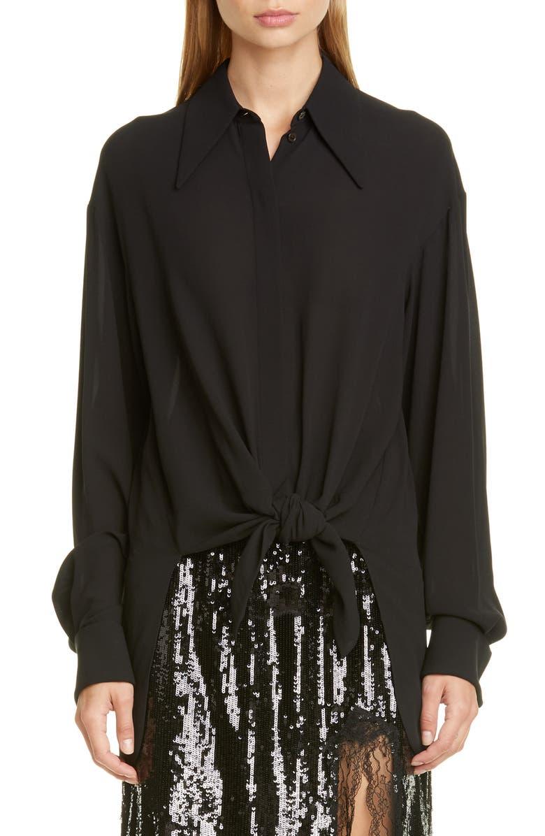 MICHAEL KORS COLLECTION Michael Kors Tie Front Silk Shirt, Main, color, BLACK