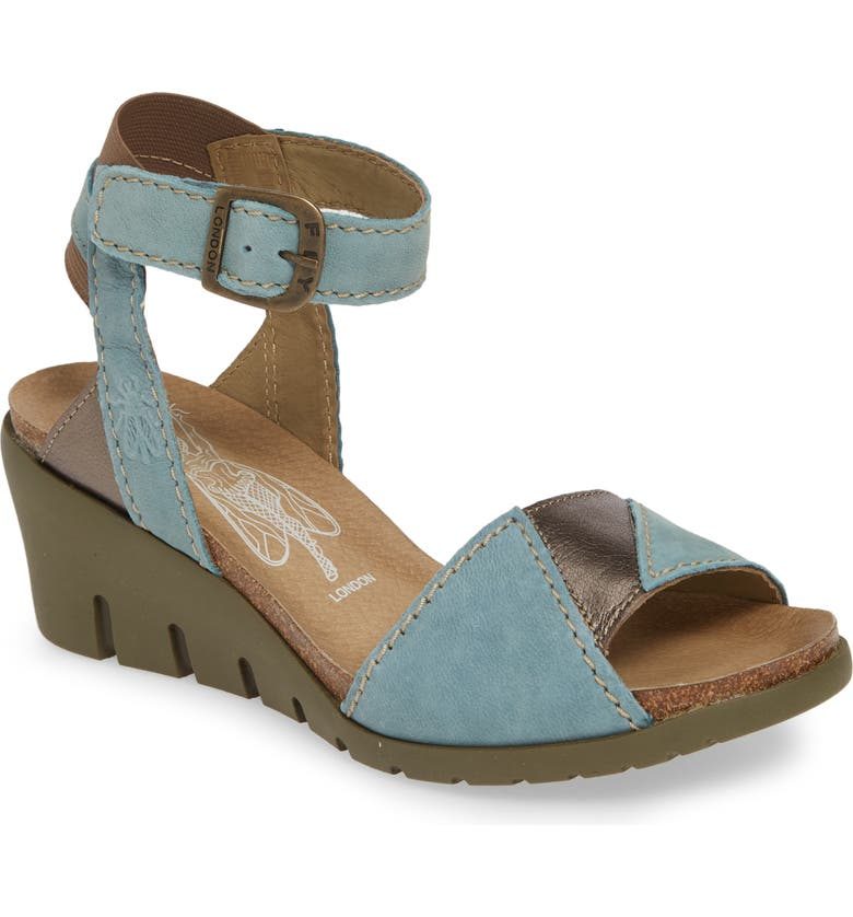 FLY LONDON Imat Wedge Sandal, Main, color, PALE BLUE LEATHER