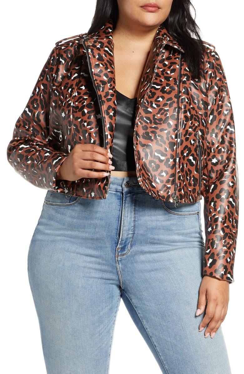 ELOQUII Leopard Print Faux Leather Crop Moto Jacket, Main, color, SPECKLED CHEETAH