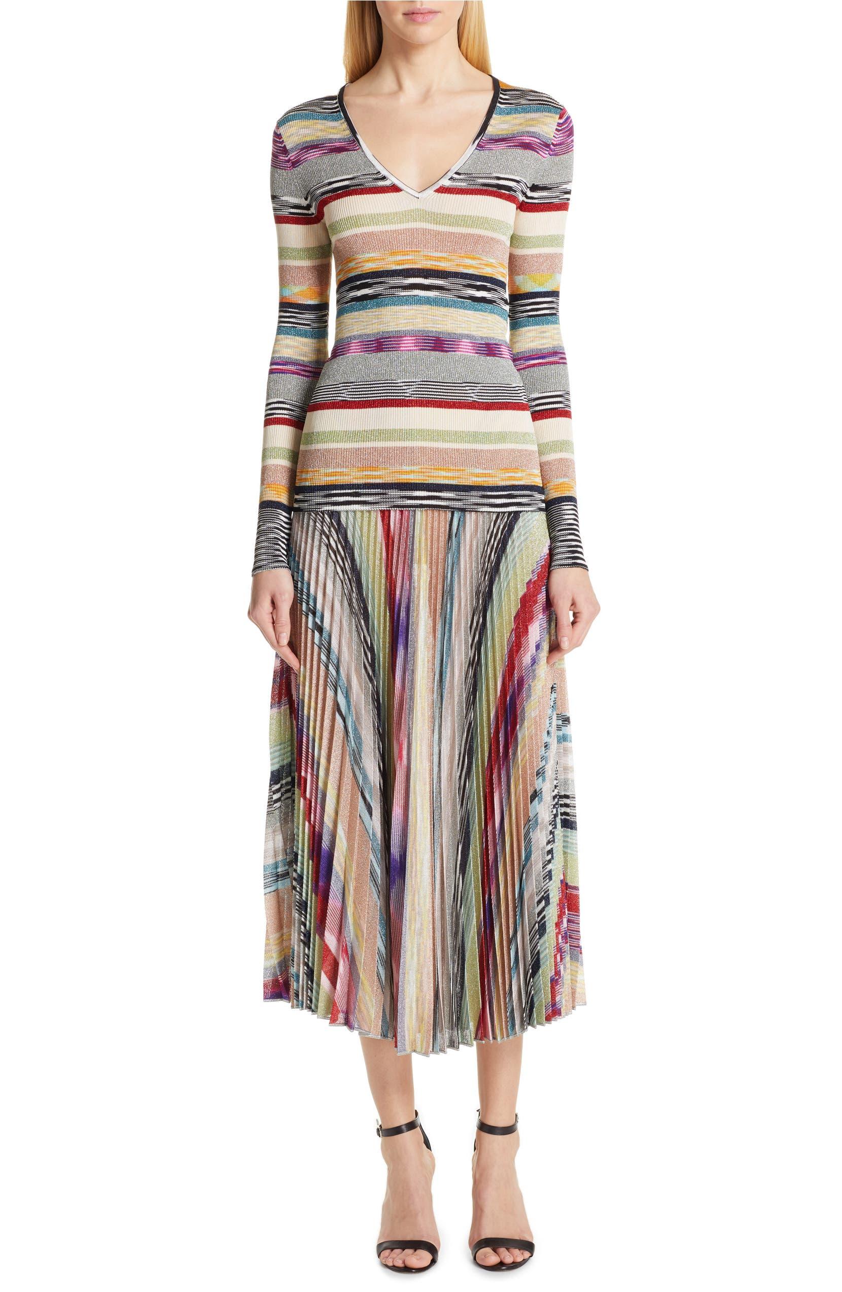 bf6974c27 Missoni Pleated Metallic Stripe Midi Skirt | Nordstrom