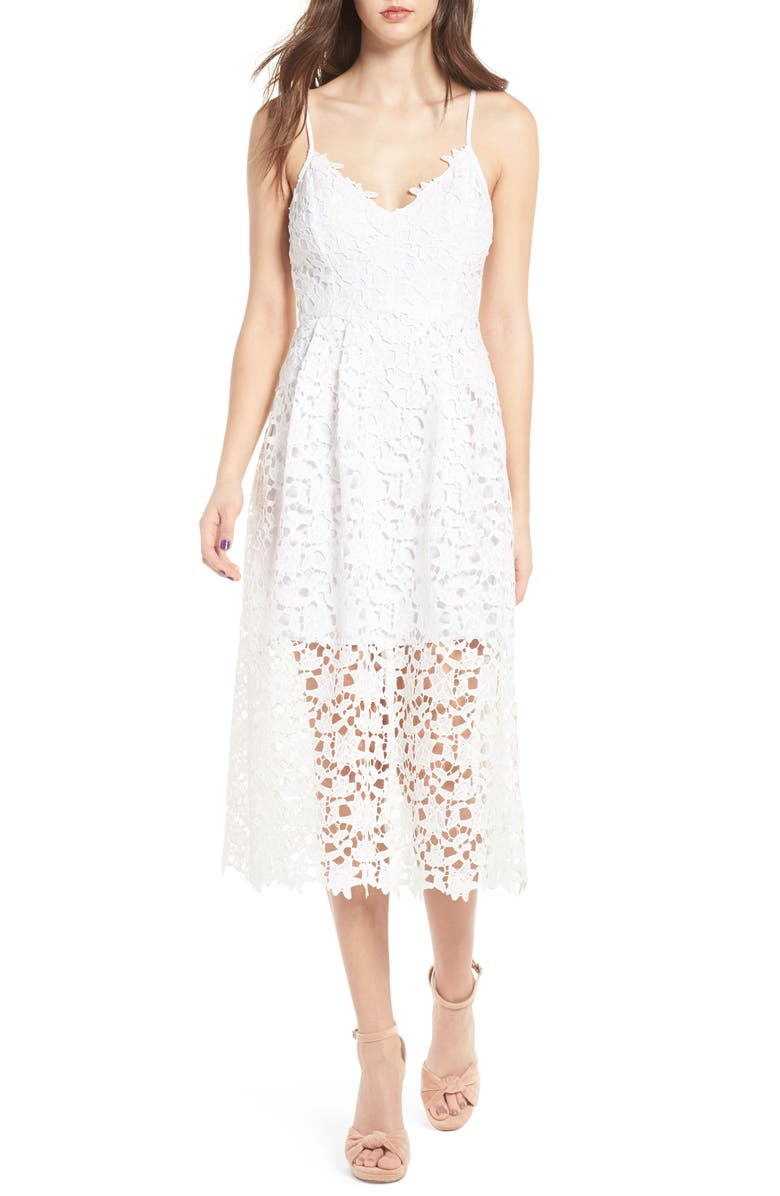 ASTR THE LABEL Lace Midi Dress, Main, color, WHITE