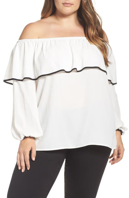 Vince Camuto Tops OFF THE SHOULDER RUFFLE BLOUSE