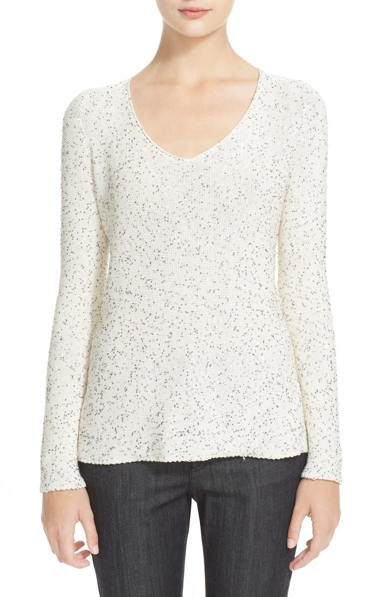 ARMANI COLLEZIONI Sequin V-Neck Sweater, Main, color, 104
