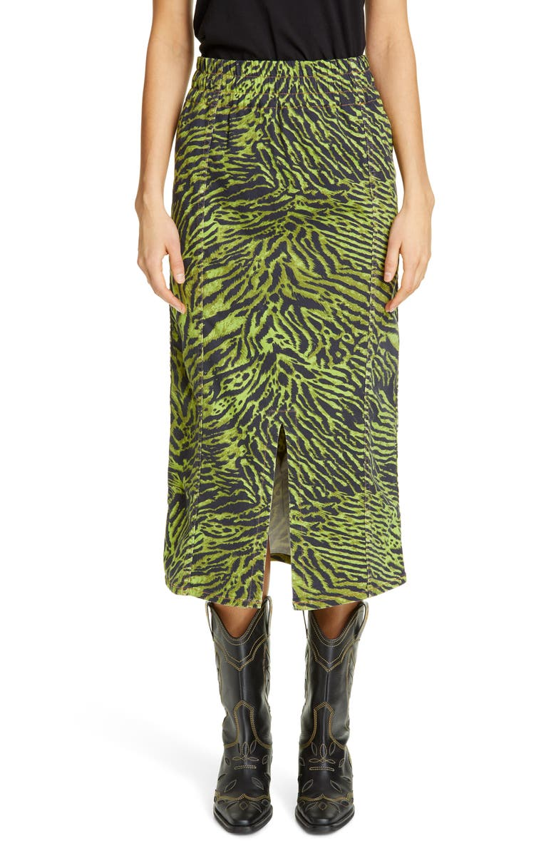GANNI Tiger Print Denim Midi Skirt, Main, color, LIME TIGER