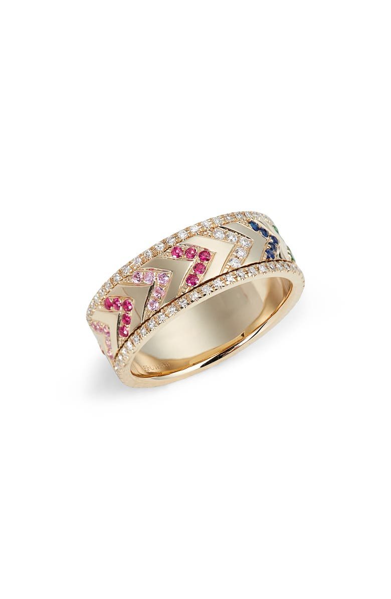 EF COLLECTION Rainbow Diamond Band Spinning Ring, Main, color, YELLOW GOLD/ DIA