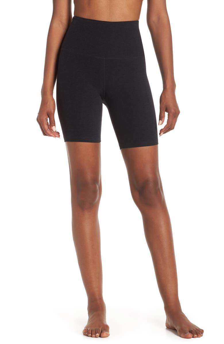 BEYOND YOGA High Waist Biker Shorts, Main, color, DARKEST NIGHT