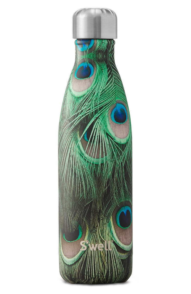 S'WELL Peacock Insulated Stainless Steel Water Bottle, Main, color, 300