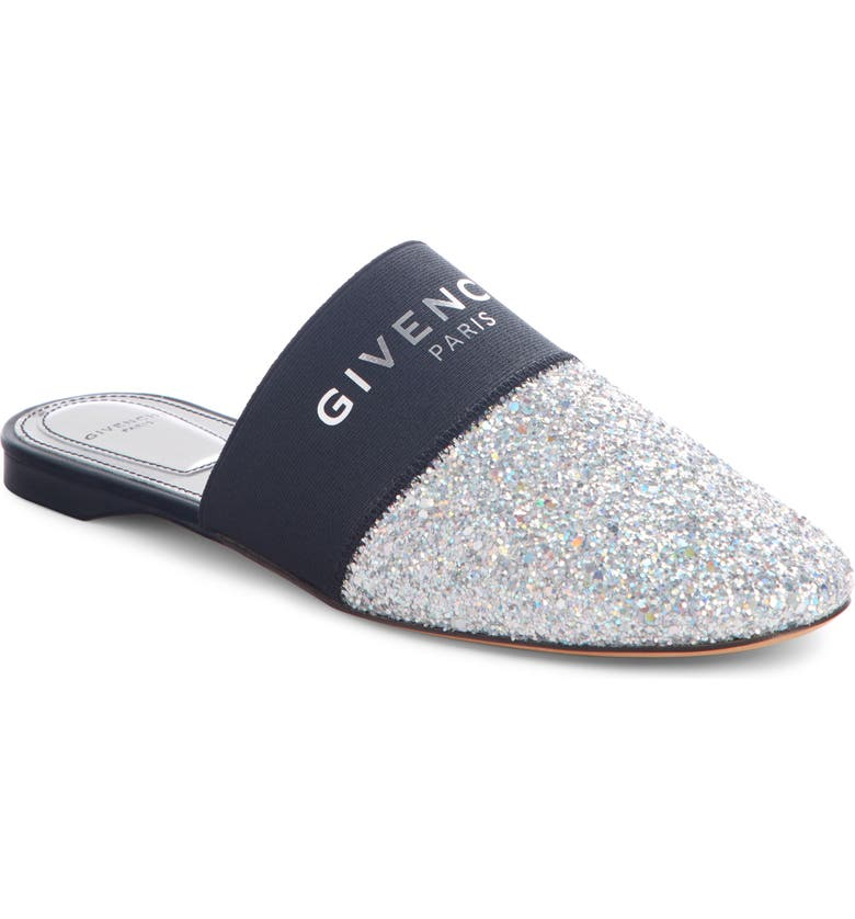 GIVENCHY Bedford Logo Mule, Main, color, SILVER GLITTER