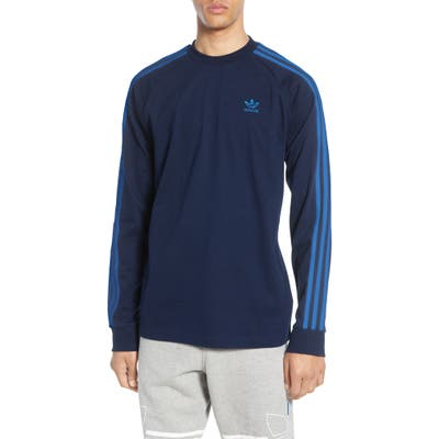 Adidas Originals 3-Stripes Long Sleeve T-Shirt, Blue