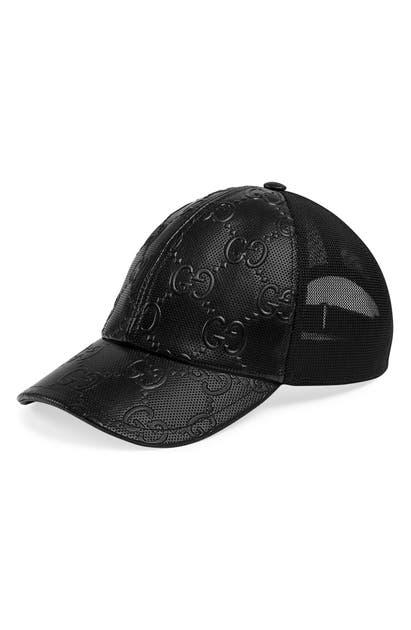 Gucci GG EMBOSSED LEATHER BASEBALL CAP