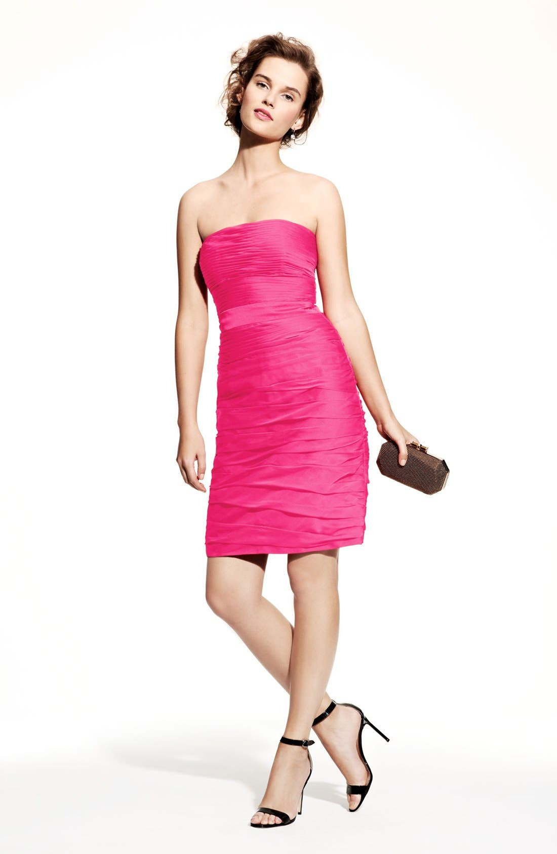 ,                             Ruched Strapless Cationic Chiffon Dress,                             Main thumbnail 62, color,                             655