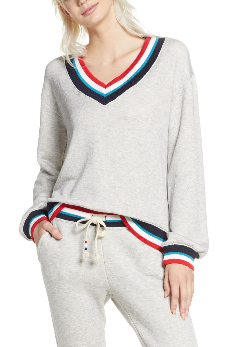 SOL ANGELES Flag Roma V-Neck Sweater, Main, color, HEATHER