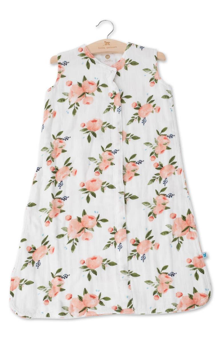 LITTLE UNICORN Cotton Muslin Wearable Blanket, Main, color, WATERCOLOR ROSES