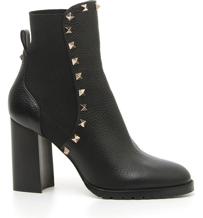 VALENTINO GARAVANI Rockstud Block Heel Bootie, Main, color, BLACK