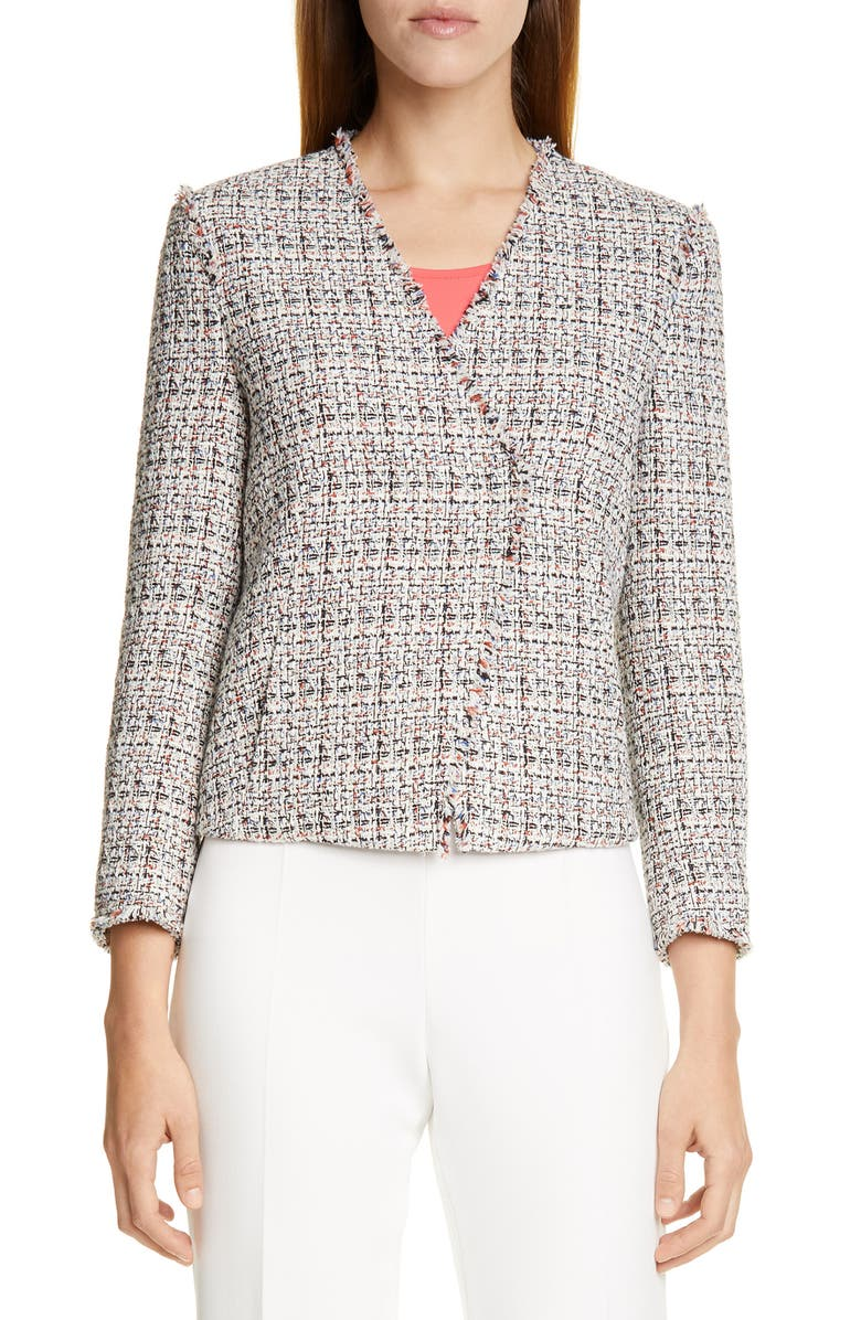 BOSS Jemilia Tweed Jacket, Main, color, VANILLA LIGHT FANTASY