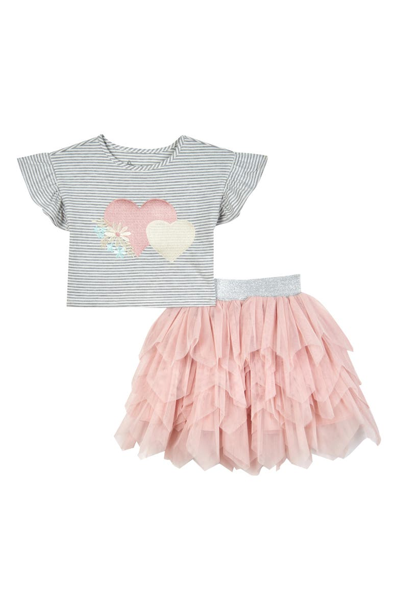 PIPPA & JULIE Hearts Top & Skirt Set, Main, color, GREY/ WHITE