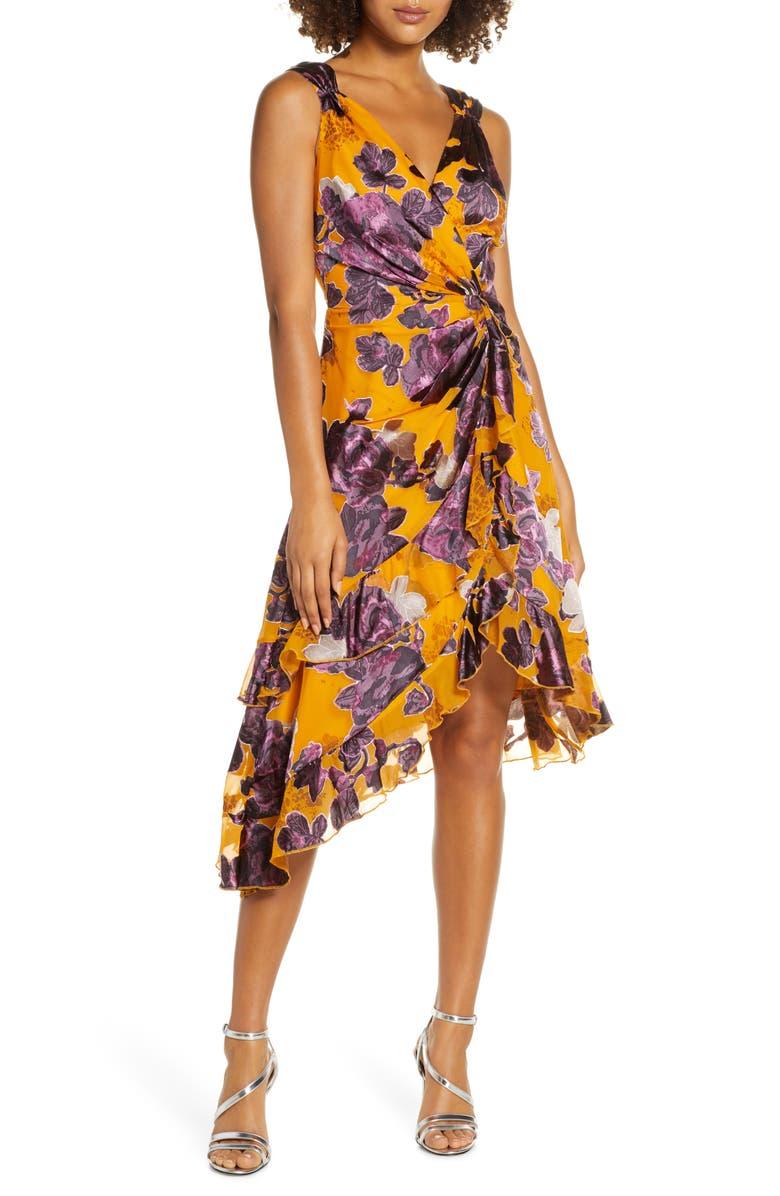 HARLYN Burnout Asymmetrical Satin Dress, Main, color, MARIGOLD/ PLUM