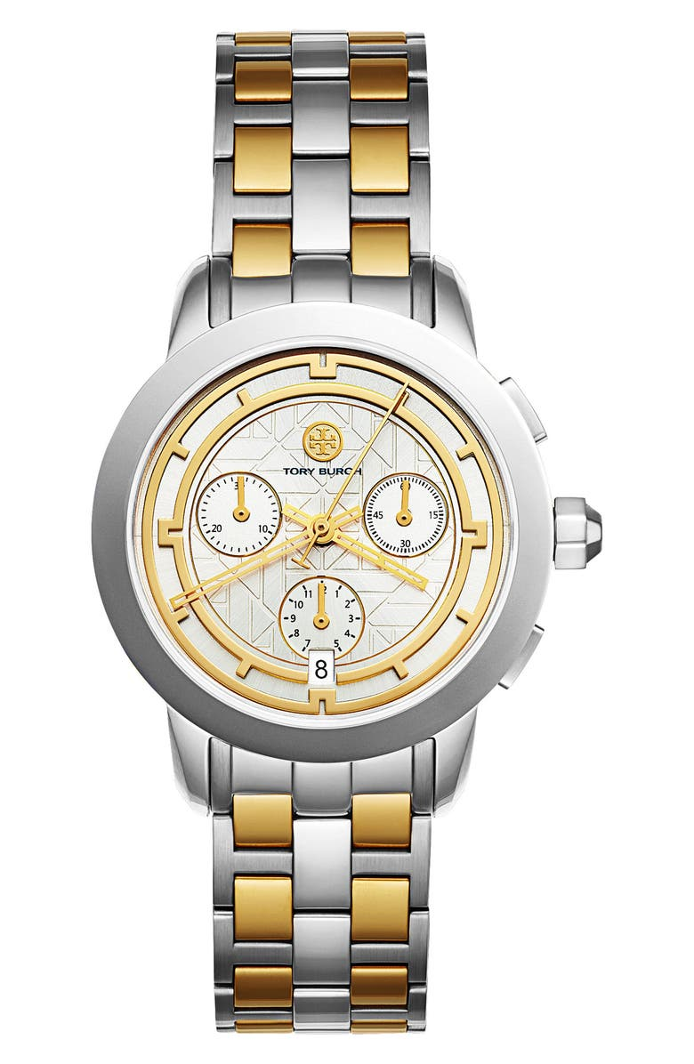 TORY BURCH Classic Chronograph Bracelet Watch, 37.5mm, Main, color, SILVER/ IVORY/ GOLD