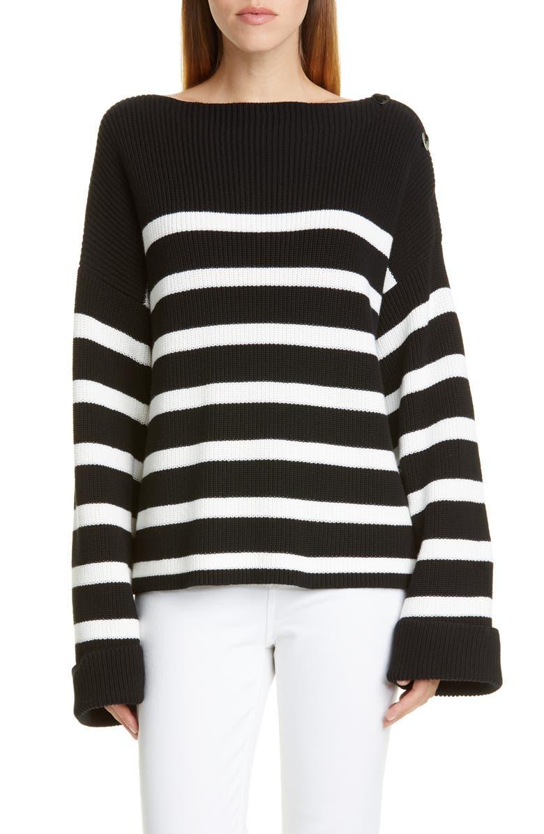 FUZZI Stripe Rib Oversize Cotton Sweater, Main, color, NERO/ PANNA
