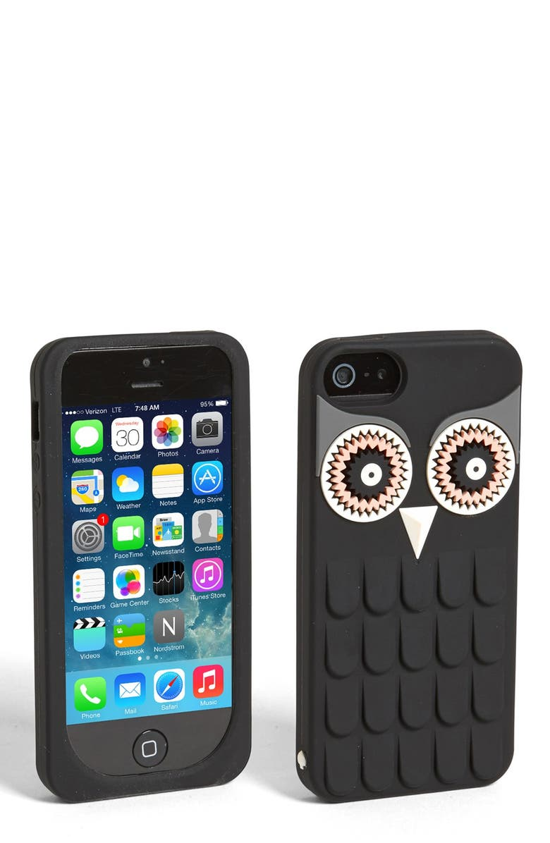 KATE SPADE NEW YORK 'owl' iPhone 5 & 5S case, Main, color, Black
