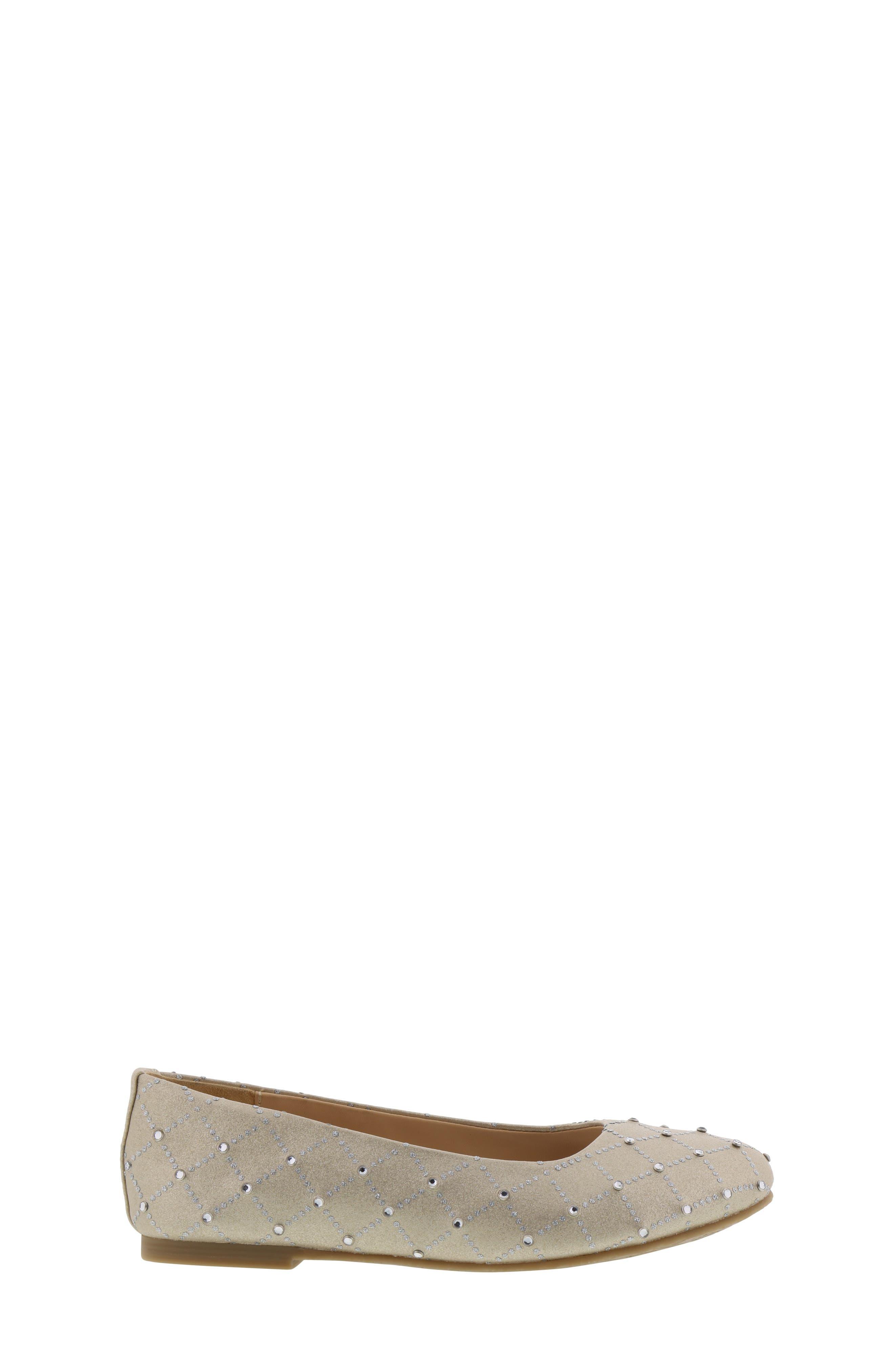 ,                             Badgley Mischka Amber Embellished Flat,                             Alternate thumbnail 3, color,                             LIGHT GOLD SHIMMER
