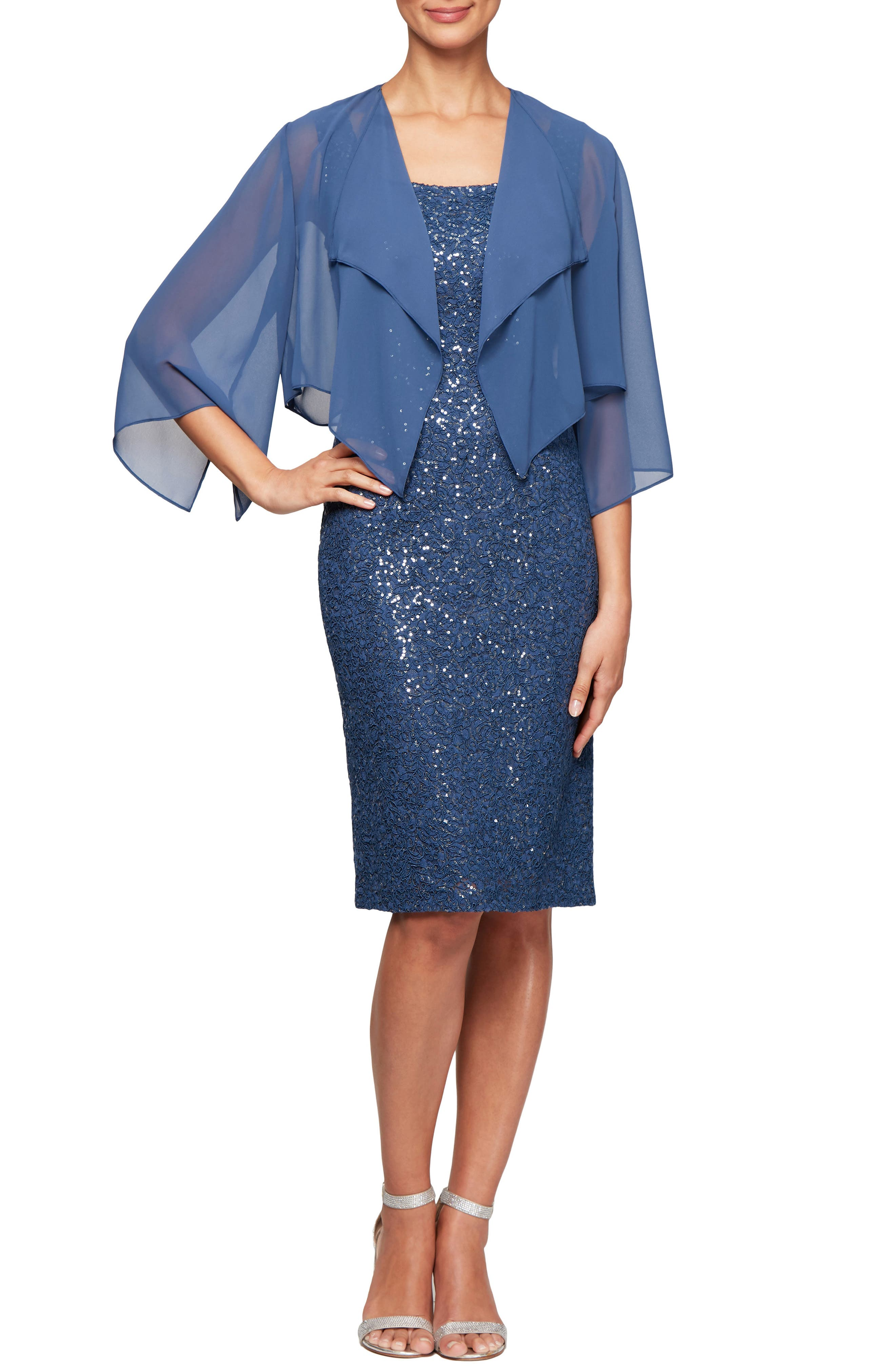 Petite Alex Evenings Sequin Lace Cocktail Dress With Capelet Overlay, Blue