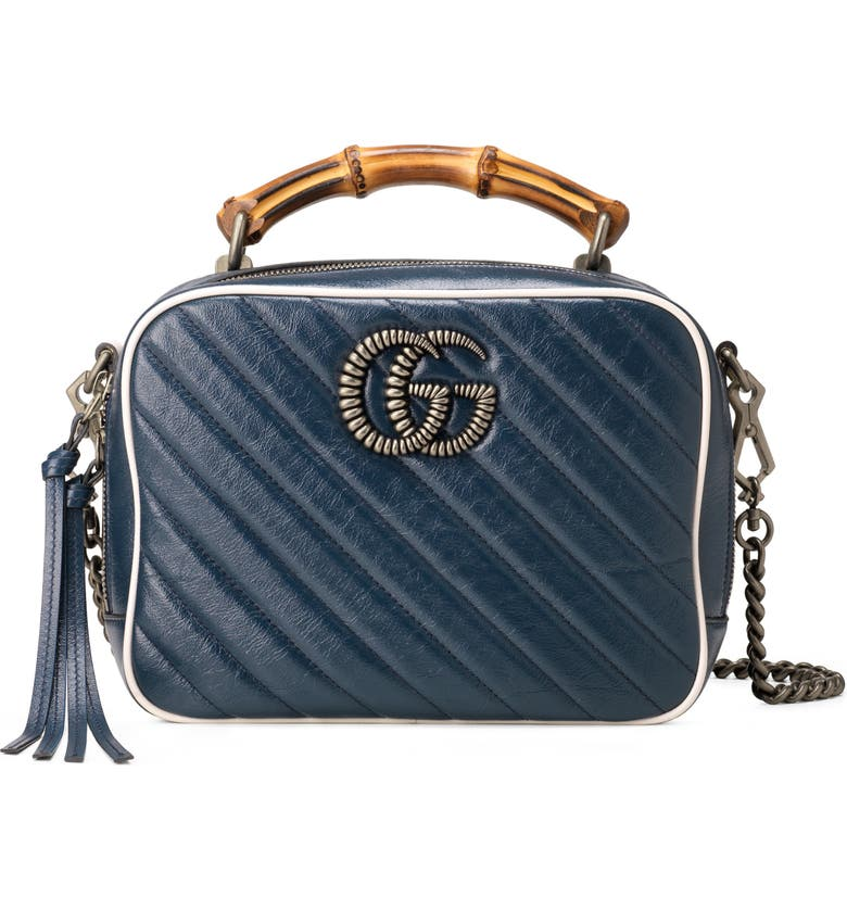 GUCCI Small Quilted Leather Shoulder Bag, Main, color, BLUE AGATA/ MYSTIC WHITE