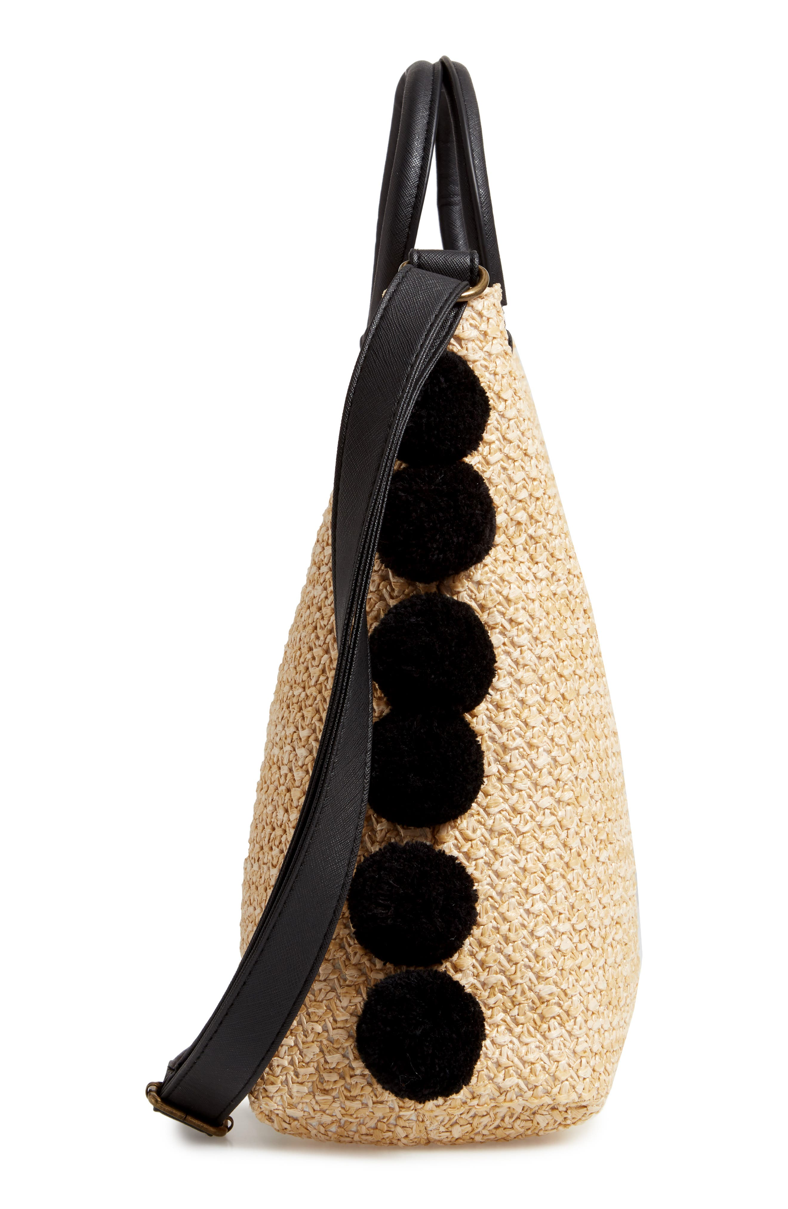 ,                             Pompom Trim Embroidered Straw Tote,                             Alternate thumbnail 6, color,                             NATURAL