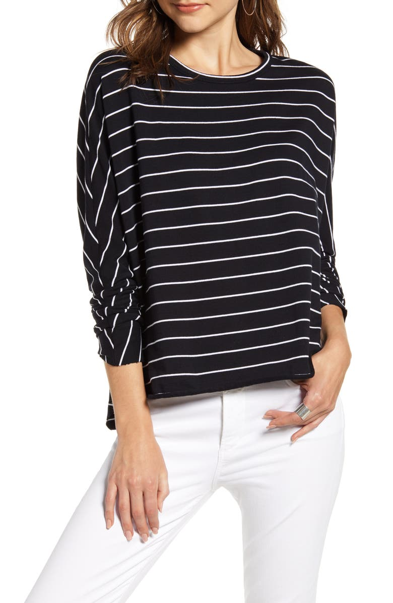 FRANK & EILEEN Tee Lab Oversize Stripe Sweatshirt, Main, color, BLACK W/ WHITE STRIPE