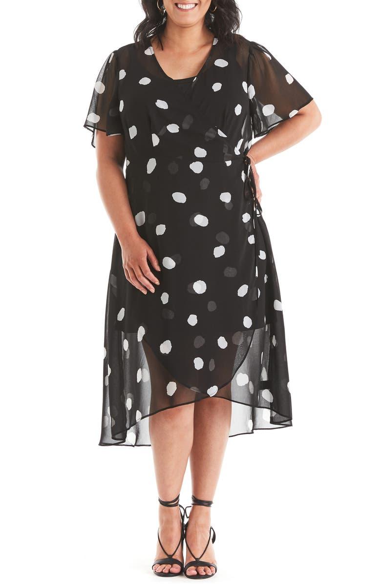 ESTELLE Begin Again Print Chiffon Wrap Dress, Main, color, 001