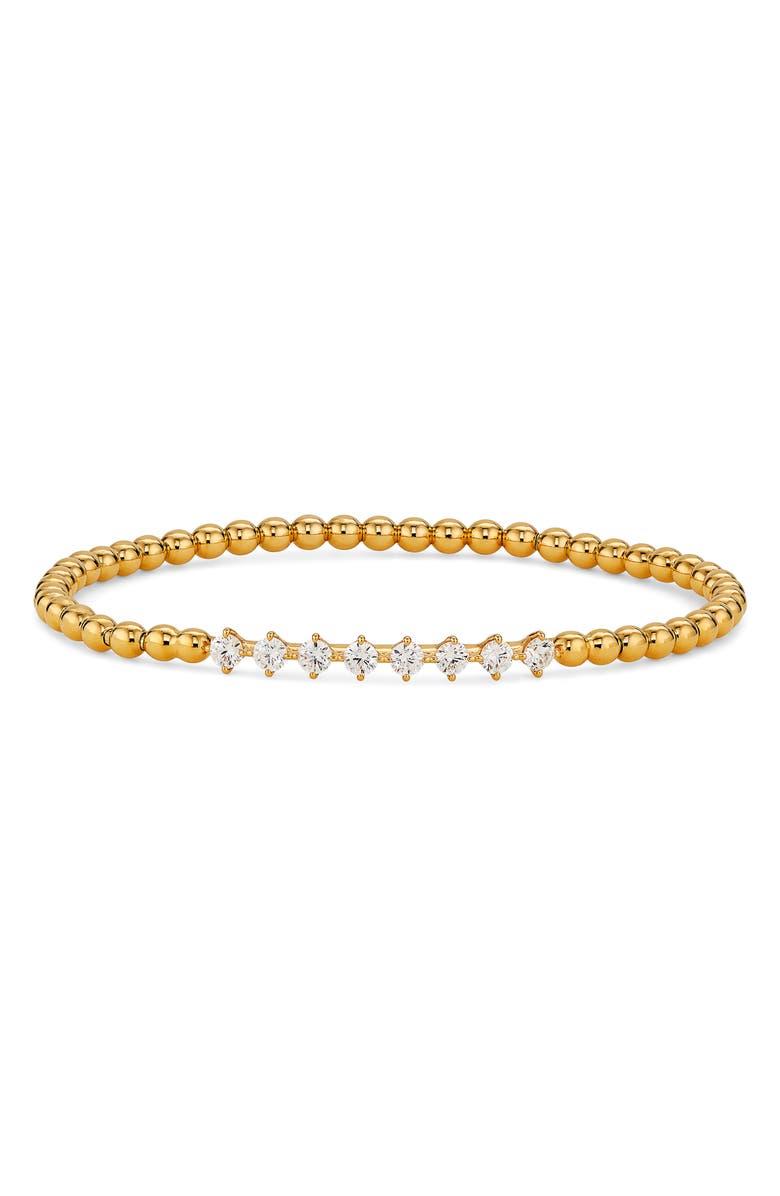 NADRI Cubic Zirconia Beaded Stretch Bracelet, Main, color, GOLD