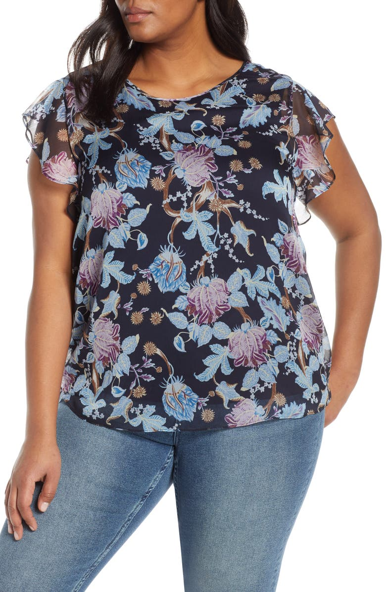 VINCE CAMUTO Poetic Blooms Flutter Sleeve Top, Main, color, CLASSIC NAVY