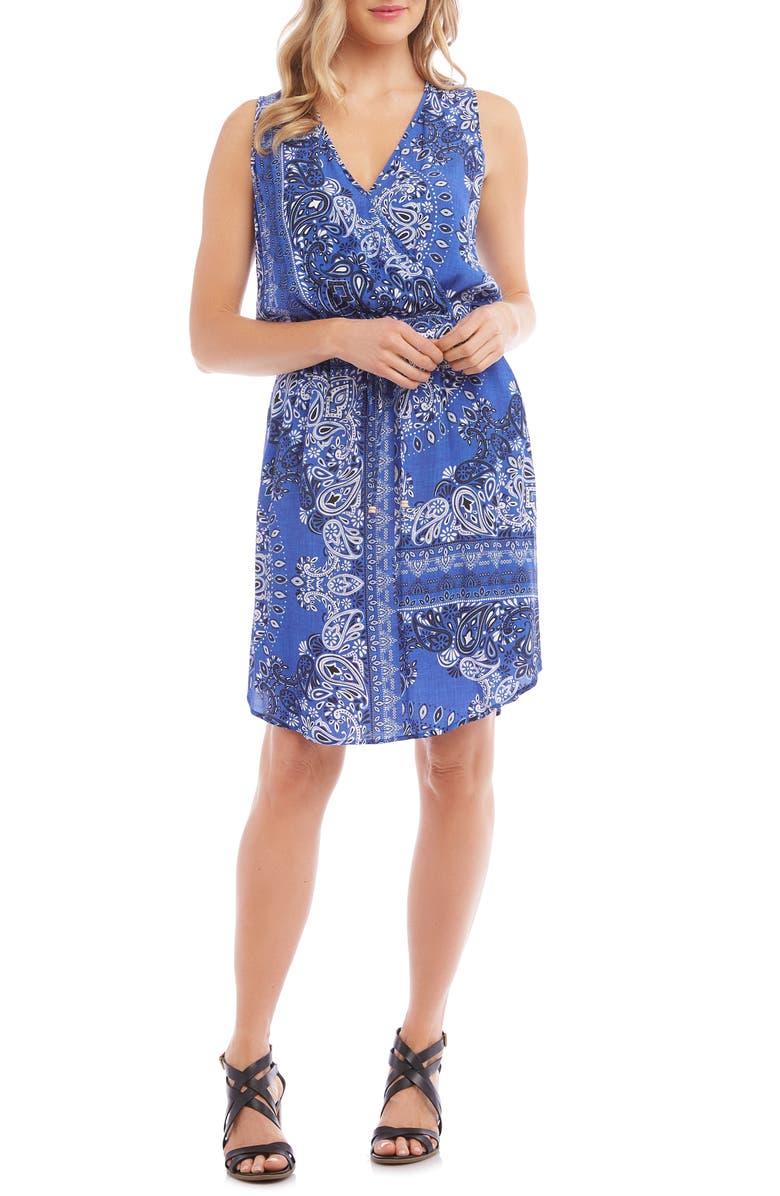KAREN KANE Bandana Print Faux Wrap Dress, Main, color, PRINT