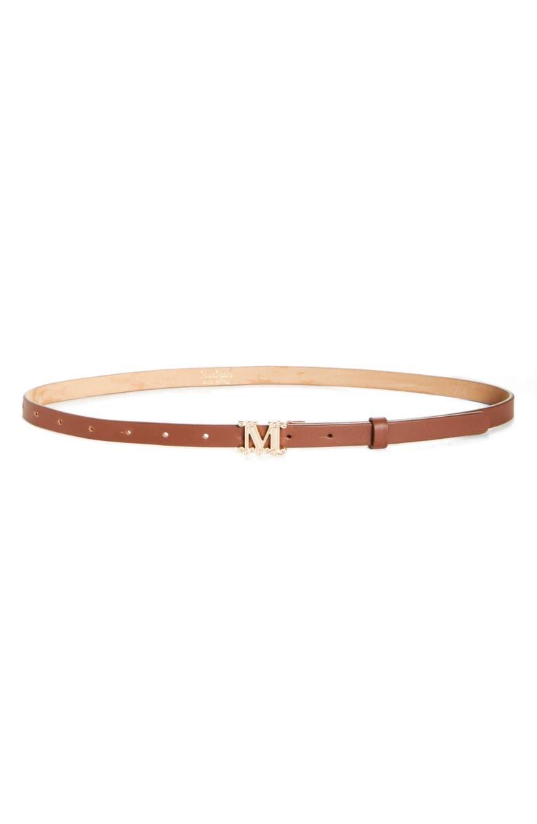MAX MARA Verres Monogram Leather Belt, Main, color, TOBACCO