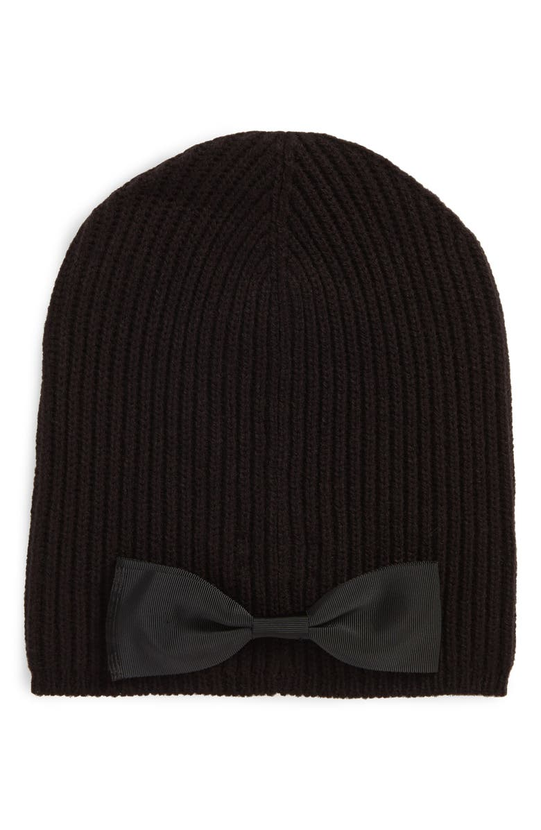 KATE SPADE NEW YORK grosgrain bow knit beanie, Main, color, 001