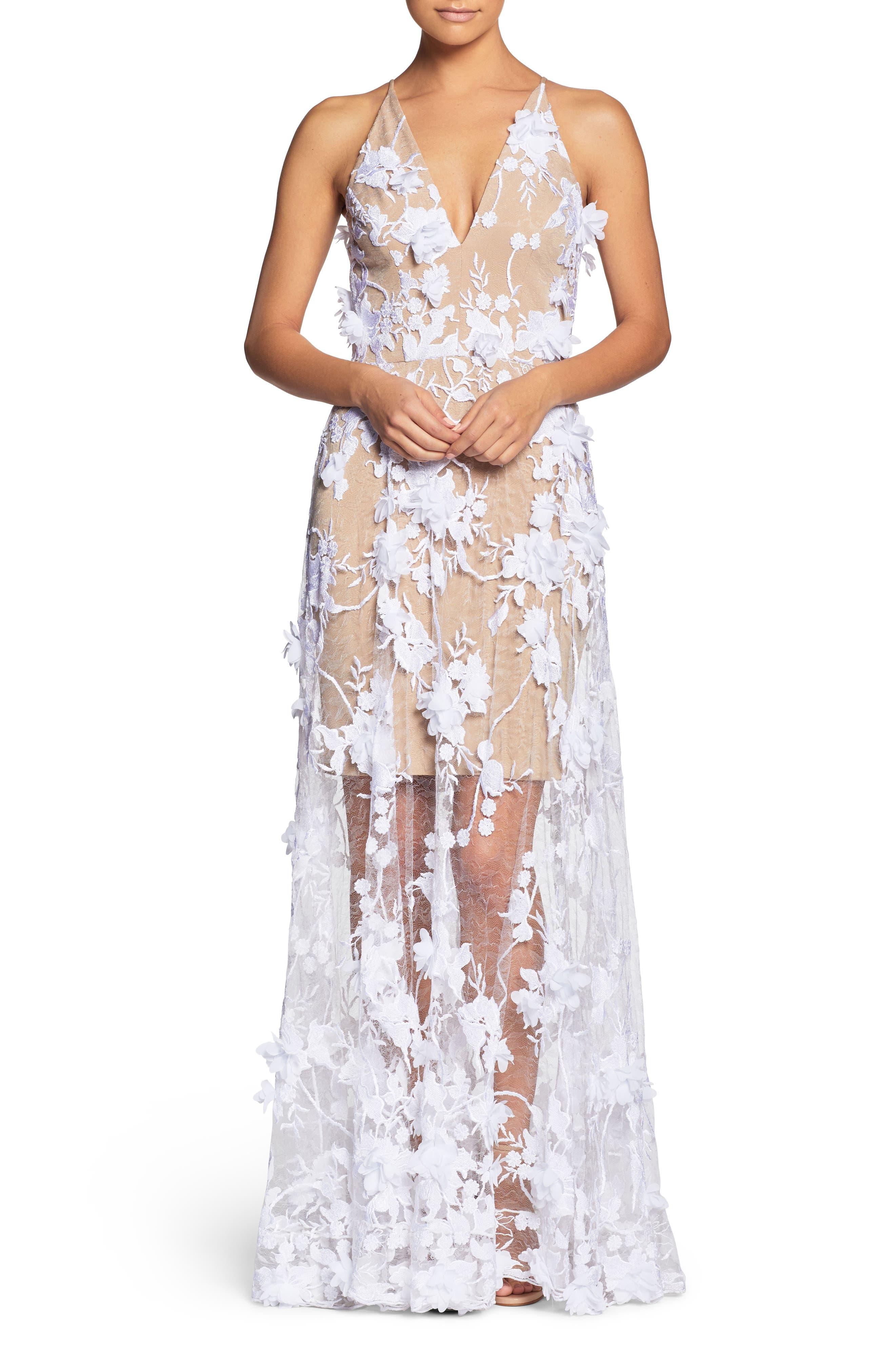 Sidney Deep V-Neck 3D Lace Gown