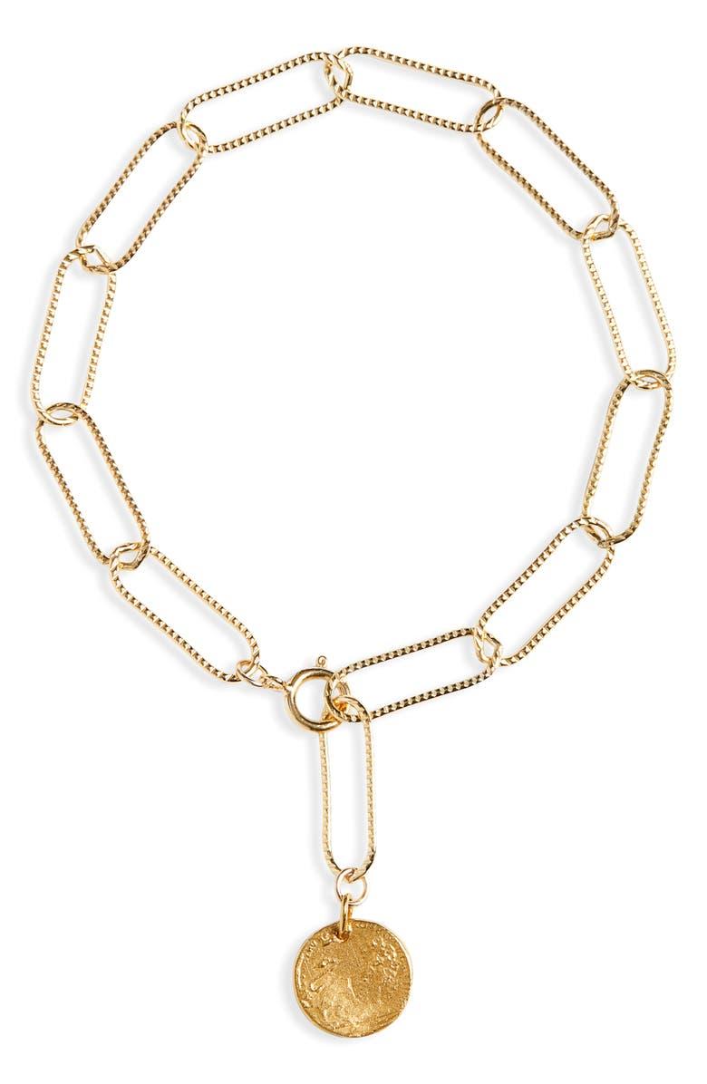 ALIGHIERI Baby Lion Charm Paperclip Chain Bracelet, Main, color, 700