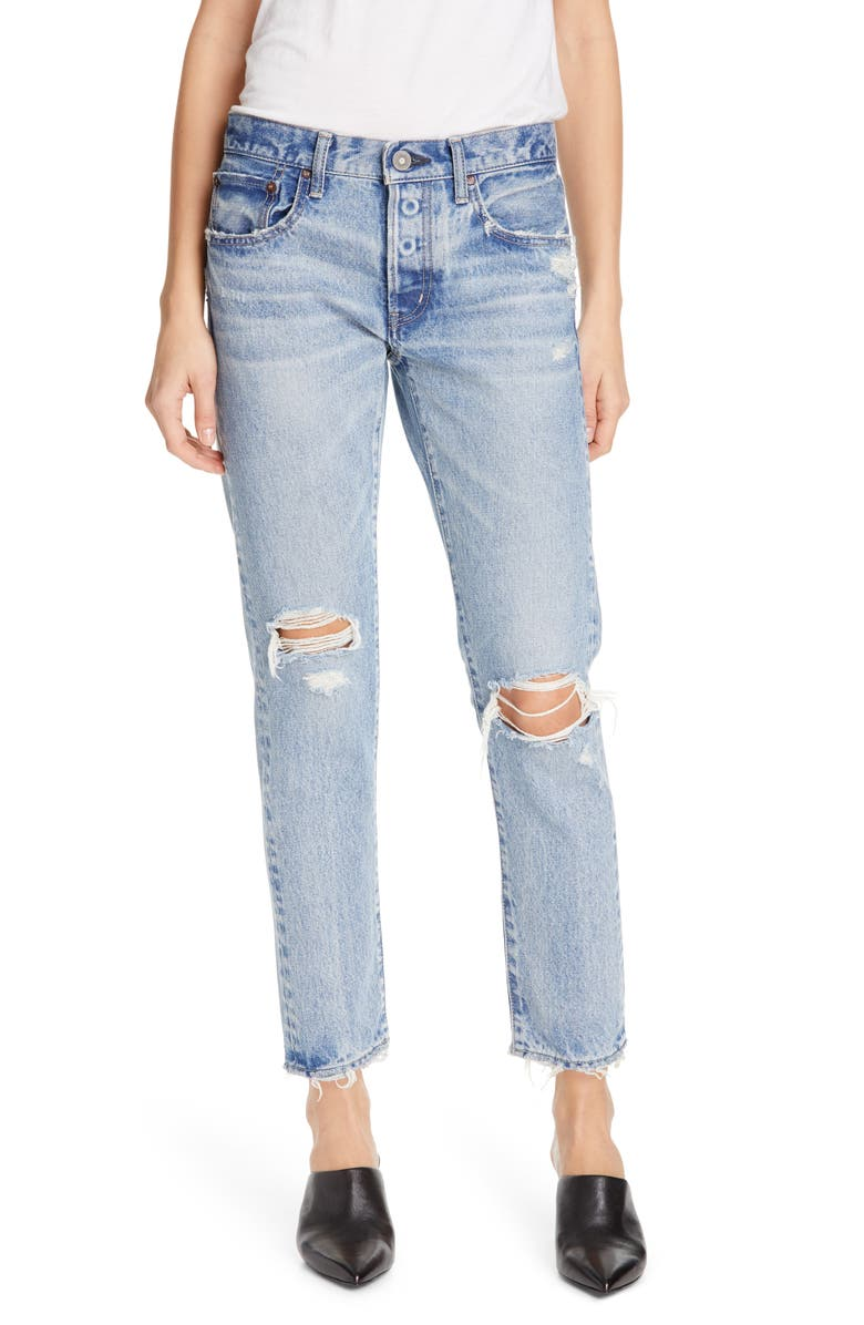 MOUSSY VINTAGE Lawton Ripped Crop Tapered Jeans, Main, color, BLUE