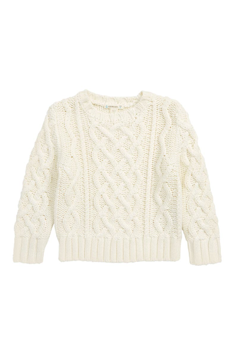 CREWCUTS BY J.CREW Cable Knit Sweater, Main, color, FRESH CREAM
