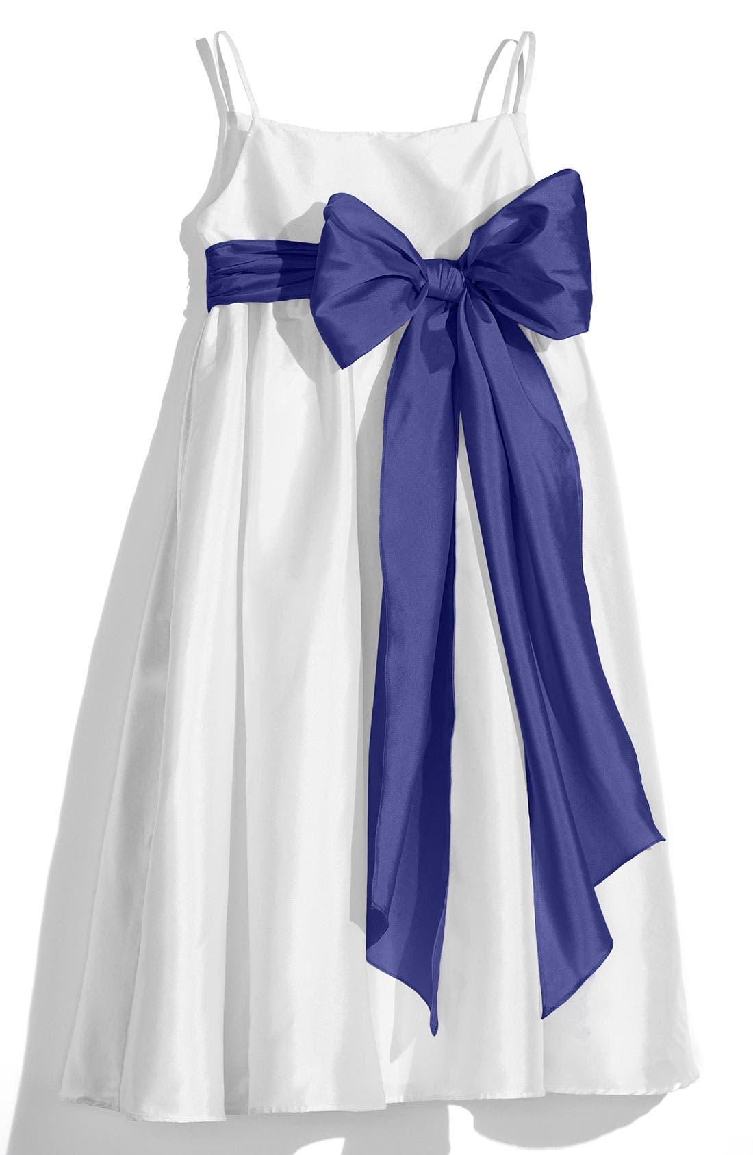 ,                             White Sleeveless Empire Waist Taffeta Dress,                             Main thumbnail 13, color,                             650