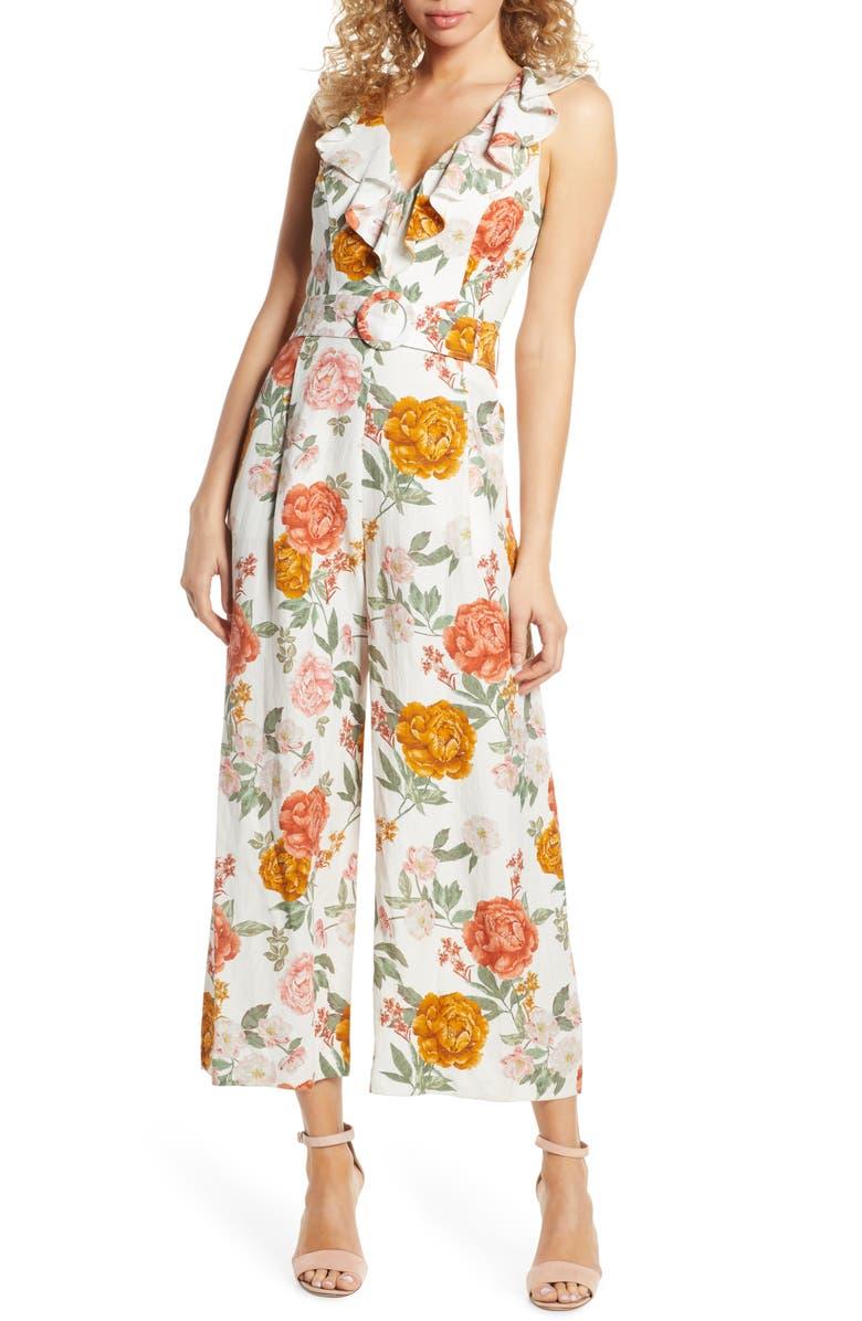 EVER NEW Sage Floral Print Belted Jumpsuit, Main, color, SUMMER BLOOM PORCELAIN