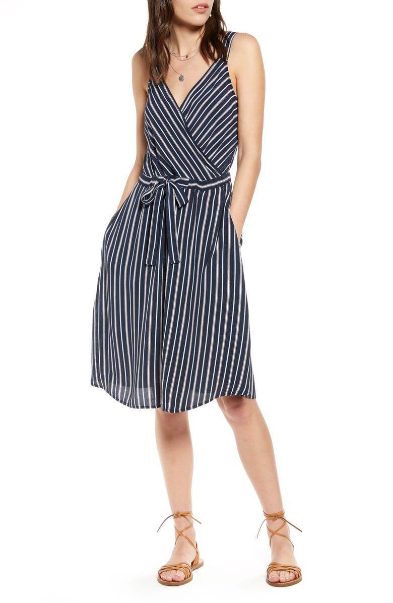 TREASURE & BOND Sleeveless Tie Waist Dress, Main, color, NAVY DIANE STRIPE