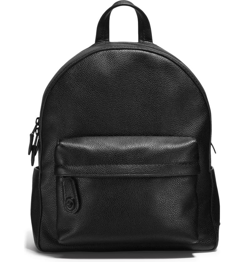 COACH Leather Backpack, Main, color, MW/ BLACK