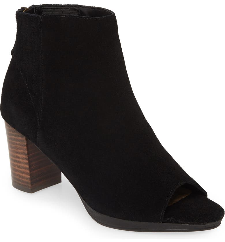 BELLA VITA Lex Open Toe Bootie, Main, color, BLACK SUEDE
