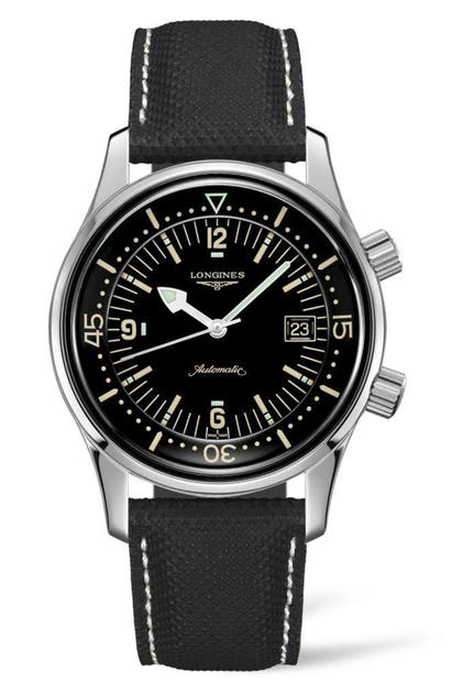 Longines Watches LEGEND DIVER AUTOMATIC LEATHER STRAP WATCH, 42MM