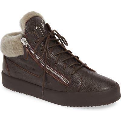 Giuseppe Zanotti Genuine Shearling Sneaker, Brown