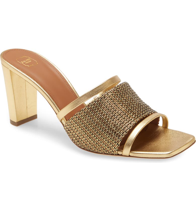 MALONE SOULIERS Demi Square Toe Slide Sandal, Main, color, GOLD/ GOLD