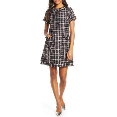 Petite Harper Rose Tweed Shift Dress, Black