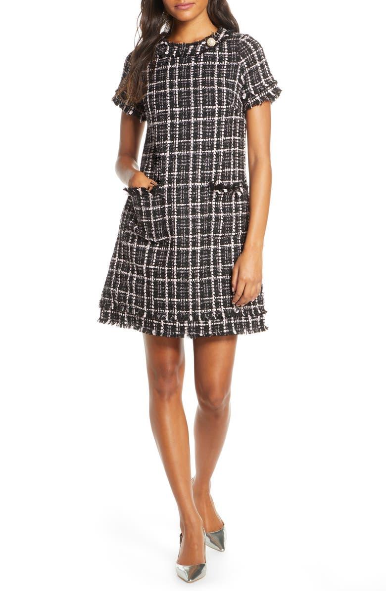 HARPER ROSE Tweed Shift Dress, Main, color, BLK